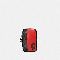 COACH 91301 - NORTH/SOUTH HYBRID POUCH IN SIGNATURE CANVAS WITH COACH PATCH QB/SPORT RED CHARCOAL
