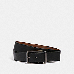 COACH 91312 - DOUBLE BAR BUCKLE CUT-TO-SIZE REVERSIBLE BELT, 38MM QB/BLACK/DARK SADDLE