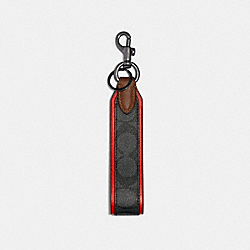 COACH 91313 Loop Key Fob In Signature Canvas QB/CHARCOAL SPORT RED