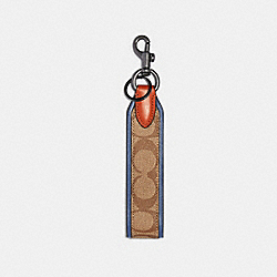 COACH 91313 Loop Key Fob In Signature Canvas QB/TAN ADMIRAL MULTI