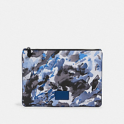 LARGE POUCH WITH WATERCOLOR SCRIPT PRINT - 91318 - QB/BLUE MULTI