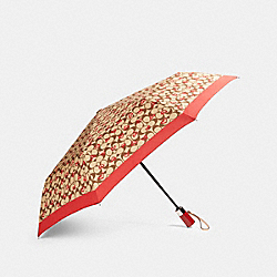 COACH 91362 Umbrella In Signature Crayon Hearts Print KHAKI/RED