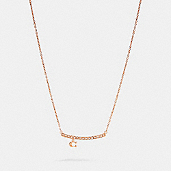 COACH 91431 - SIGNATURE PAVE BAR NECKLACE ROSEGOLD