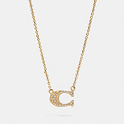 PAVE SIGNATURE NECKLACE - 91433 - GOLD