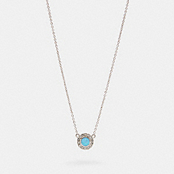 COACH 91445 Open Circle Necklace SV/BLUE