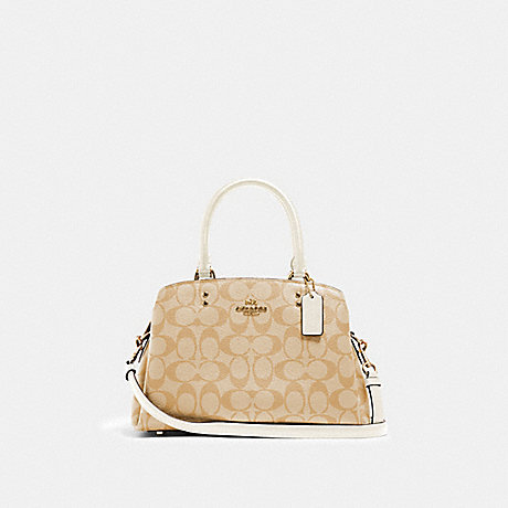 COACH 91494 MINI LILLIE CARRYALL IN SIGNATURE CANVAS IM/LIGHT-KHAKI-CHALK