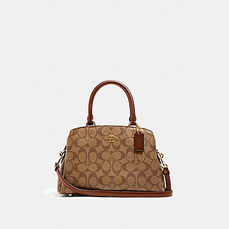 COACH 91494 MINI LILLIE CARRYALL IN SIGNATURE CANVAS IM/KHAKI SADDLE 2
