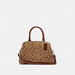 MINI LILLIE CARRYALL IN SIGNATURE CANVAS - 91494 - IM/KHAKI SADDLE 2