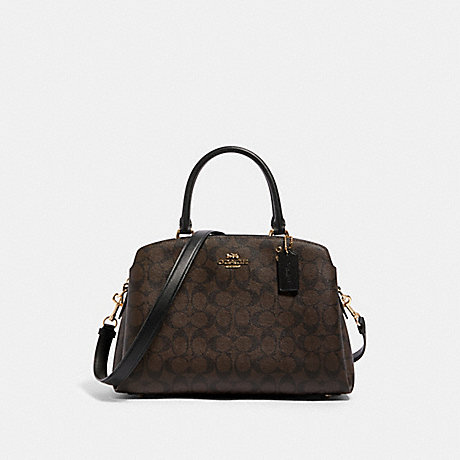 COACH 91495 LILLIE CARRYALL IN SIGNATURE CANVAS IM/BROWN-BLACK