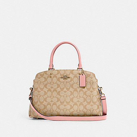 COACH 91495 LILLIE CARRYALL IN SIGNATURE CANVAS IM/LIGHT KHAKI/BUBBLEGUM