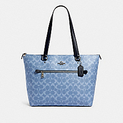 COACH 91499 Gallery Tote In Signature Canvas SV/LIGHT DENIM
