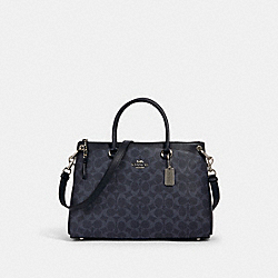 MIA SATCHEL IN SIGNATURE CANVAS - 91510 - SV/DENIM MIDNIGHT