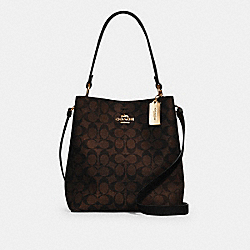 COACH 91512 - TOWN BUCKET BAG IN SIGNATURE CANVAS IM/BROWN BLACK