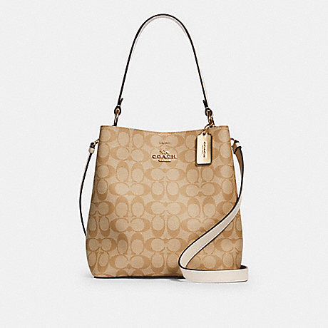 COACH 91512 TOWN BUCKET BAG IN SIGNATURE CANVAS IM/LIGHT-KHAKI-CHALK