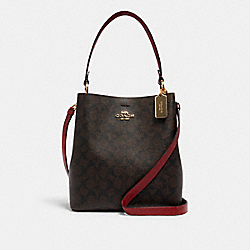 COACH 91512 - TOWN BUCKET BAG IN SIGNATURE CANVAS IM/BROWN 1941 RED