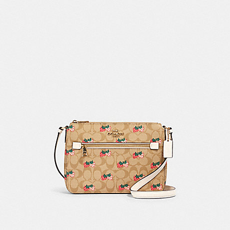 COACH 91513 GALLERY FILE BAG IN SIGNATURE CANVAS WITH STRAWBERRY PRINT IM/KHAKI-MULTI