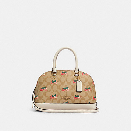 COACH 91514 MINI SIERRA SATCHEL IN SIGNATURE CANVAS WITH STRAWBERRY PRINT IM/KHAKI-MULTI