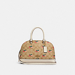 MINI SIERRA SATCHEL IN SIGNATURE CANVAS WITH STRAWBERRY PRINT - 91514 - IM/KHAKI MULTI