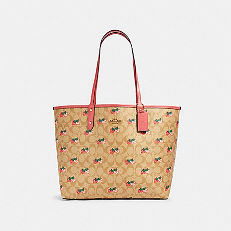 COACH 91515 REVERSIBLE CITY TOTE IN SIGNATURE CANVAS WITH STRAWBERRY PRINT IM/KHAKI-MULTI