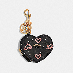 COACH 91523 - COIN POUCH BAG CHARM WITH CRAYON HEARTS PRINT SV/BLACK