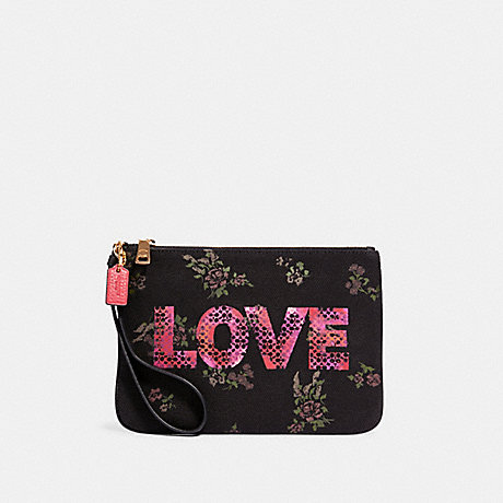 COACH 91534 GALLERY POUCH WITH JASON NAYLOR GRAPHIC IM/BLACK-MULTI