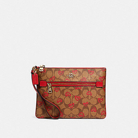 COACH 91542 GALLERY POUCH IN SIGNATURE CANVAS WITH CRAYON HEARTS PRINT IM/KHAKI-RED-MULTI
