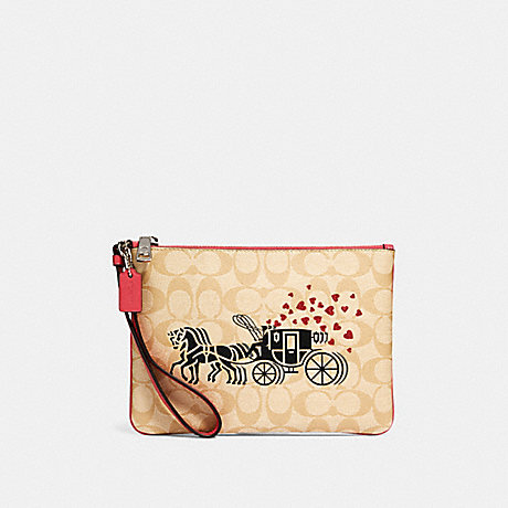 COACH 91543 GALLERY POUCH IN SIGNATURE CANVAS WITH HORSE AND CARRIAGE HEARTS MOTIF SV/LIGHT-KHAKI-MULTI/POPPY