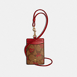 COACH 91566 Id Lanyard In Signature Canvas With Crayon Hearts Print IM/KHAKI RED MULTI