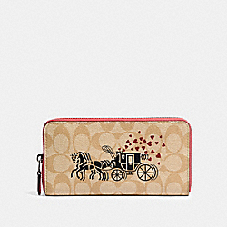 COACH 91571 Accordion Zip Wallet In Signature Canvas With Horse And Carriage Hearts Motif SV/LIGHT KHAKI MULTI/POPPY