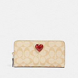 COACH 91572 - ACCORDION ZIP WALLET IN SIGNATURE CANVAS WITH HEART IM/LIGHT KHAKI MULTI
