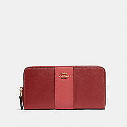 COACH 91574 - ACCORDION ZIP WALLET IN COLORBLOCK WITH STRIPE IM/DEEP SCARLET MULTI