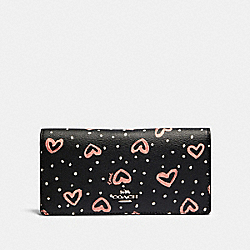 COACH 91587 Bifold Wallet With Crayon Hearts Print SV/BLACK PINK MULTI