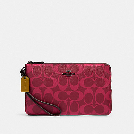 COACH 91588 DOUBLE ZIP WALLET IN BLOCKED SIGNATURE CANVAS QB/MAGENTA MULTI