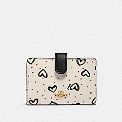 COACH 91599 Medium Corner Zip Wallet With Crayon Hearts Print IM/CHALK PINK MULTI/BLACK