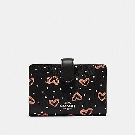 COACH 91599 MEDIUM CORNER ZIP WALLET WITH CRAYON HEARTS PRINT SV/BLACK PINK MULTI