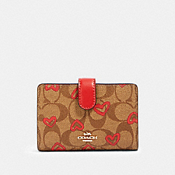 COACH 91600 Medium Corner Zip Wallet In Signature Canvas With Crayon Hearts Print IM/KHAKI RED MULTI