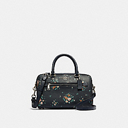 ROWAN SATCHEL WITH ROSE BOUQUET PRINT - 91604 - SV/MIDNIGHT MULTI