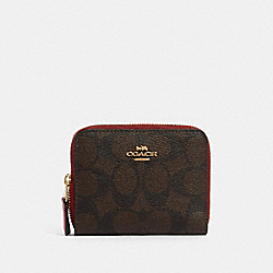COACH 91618 Small Double Zip Around Wallet In Blocked Signature Canvas IM/BROWN MULTI