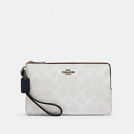 COACH 91619 DOUBLE ZIP WALLET IN BLOCKED SIGNATURE CANVAS SV/CHALK MULTI