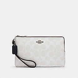 COACH 91619 - DOUBLE ZIP WALLET IN BLOCKED SIGNATURE CANVAS SV/CHALK MULTI