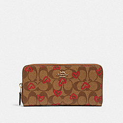 COACH 91649 Accordion Zip Wallet In Signature Canvas With Crayon Hearts Print IM/KHAKI RED MULTI