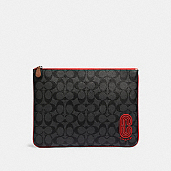 COACH 91651 Large Pouch In Signature Canvas With Coach Patch QB/SPORT RED CHARCOAL
