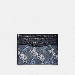 SLIM CARD CASE WITH HORSE AND CARRIAGE PRINT - 91657 - QB/INDIGO MULTI