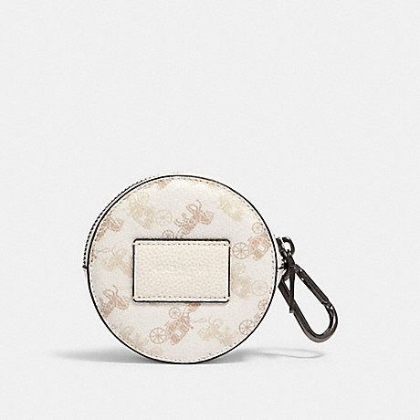 COACH ROUND HYBRID POUCH WITH HORSE AND CARRIAGE PRINT - QB/CHALK MULTI - 91658