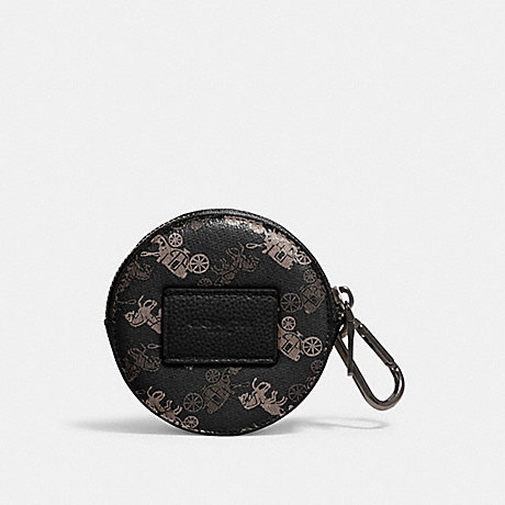 COACH ROUND HYBRID POUCH WITH HORSE AND CARRIAGE PRINT - QB/BLACK MULTI - 91658
