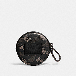 ROUND HYBRID POUCH WITH HORSE AND CARRIAGE PRINT - 91658 - QB/BLACK MULTI