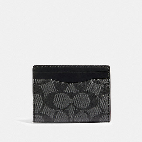 COACH 91660 MAGNETIC CARD CASE IN SIGNATURE CANVAS QB/CHARCOAL