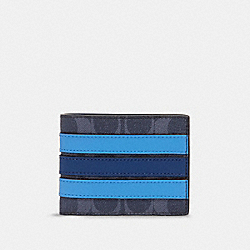 SLIM BILLFOLD WALLET IN SIGNATURE CANVAS WITH VARSITY STRIPE - 91672 - QB/DENIM MULTI