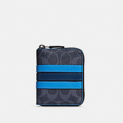 MEDIUM ZIP AROUND WALLET IN SIGNATURE CANVAS WITH VARSITY STRIPE - 91674 - QB/DENIM MULTI