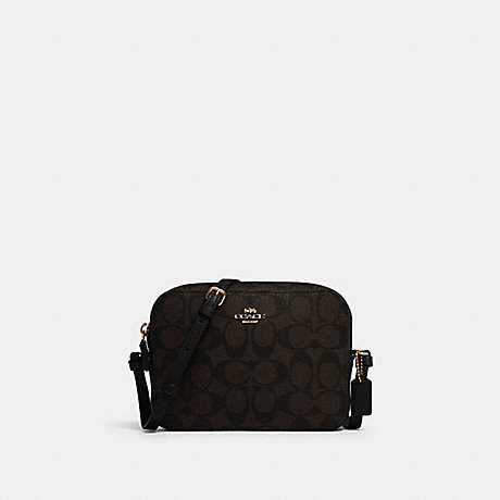 COACH 91677 MINI CAMERA BAG IN SIGNATURE CANVAS IM/BROWN-BLACK